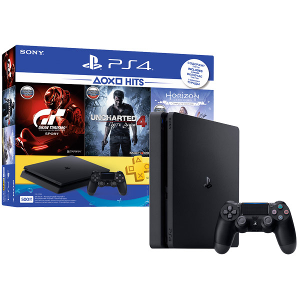 Игровая консоль PlayStation 4 500GB+GTS+UC4:Путь вора+Horizon:ZD CE (CUH-2108A) игровая приставка playstation 4 хиты playstation в комплекте с тремя играми horizon zero dawn god of war 3 uncharted 4 и подпиской playstation plus 90д