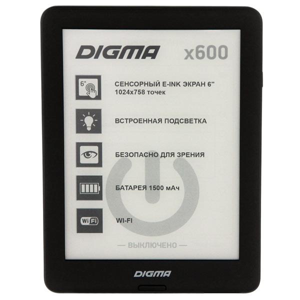 Электронная Книга Digma X600 черный электронная книга pocketbook 626 plus grey 6 e ink carta 1024x758 touch screen 1ghz 256mb 4gb microsdhc подсветка дисплея