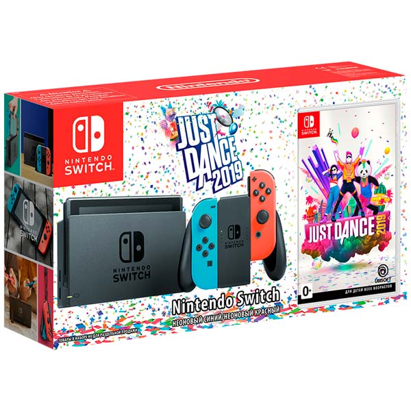 Игровая приставка Nintendo синий/красный + Just Dance 2019