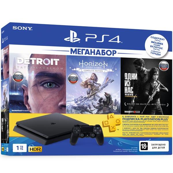 Купить Игровая консоль PS4 PlayStation 4 1TB HZD+Detroit+TLoUS + PS+ 3 мес. в каталоге интернет магазина М.Видео по выгодной цене с доставкой, отзывы, фотографии - Москва