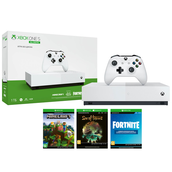 Игровая консоль Xbox One Microsoft S 1TB All Digital+SeaOfThieves+Minecraft+Fortnite