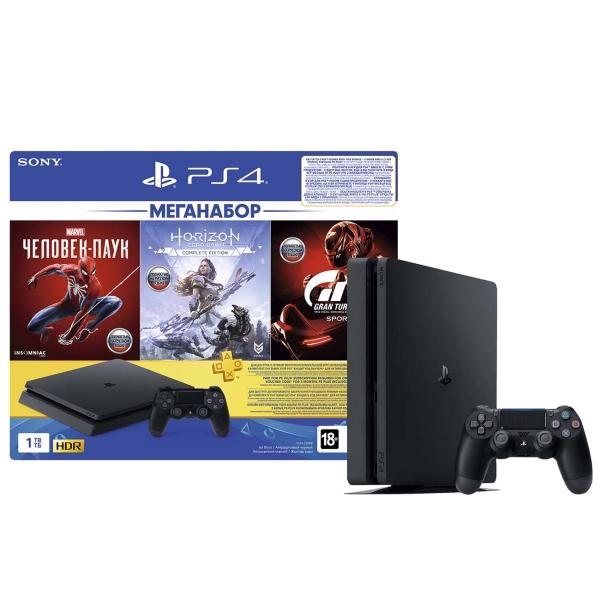 Игровая консоль PlayStation 4 1TB GTS/HZD/SpiderM/PS+ 3мес. - наличие в магазинах М.Видео - Пятигорск