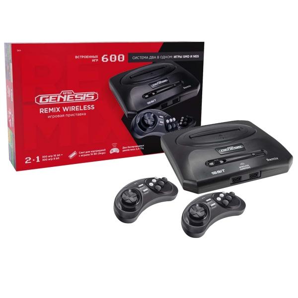 Портативная игровая консоль Retro Genesis Remix Wireless (8+16Bit) + 600 игр ZD-05A черного цвета