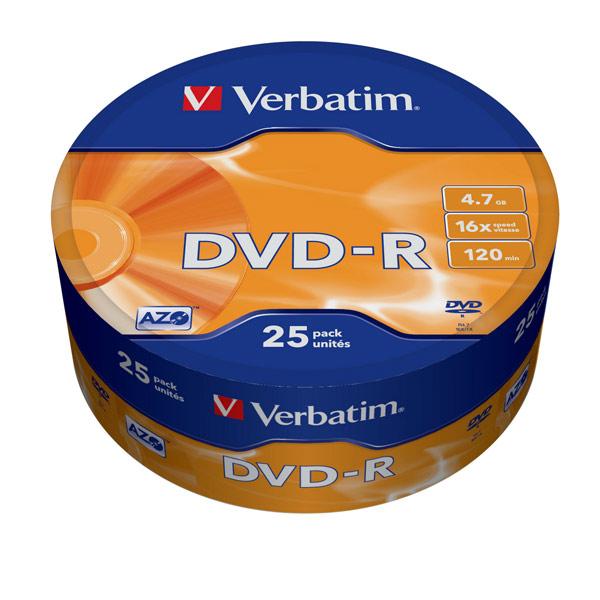 DVD-R диск Verbatim 16xShr.25шт.(43730) dvd r набор дисков verbatim 43730 x25