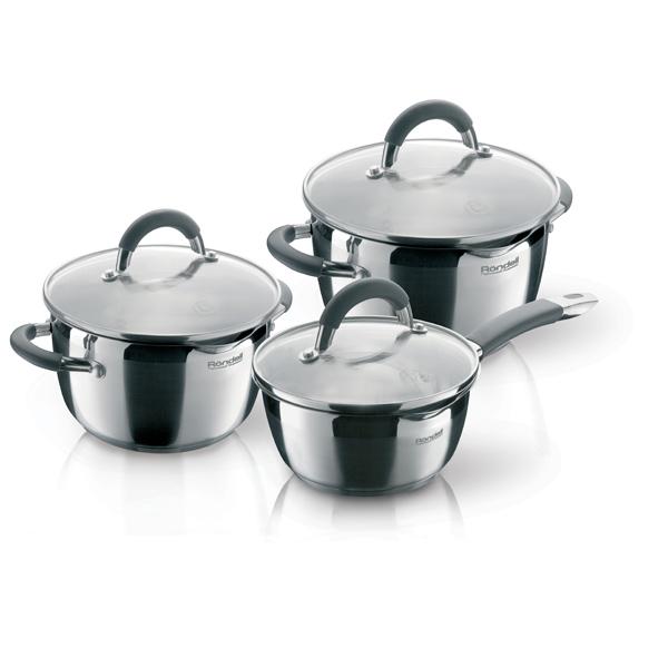 Набор посуды (нержавейка) Rondell Flamme RDS-341 3шт.: 1,3/3,2/5,7л