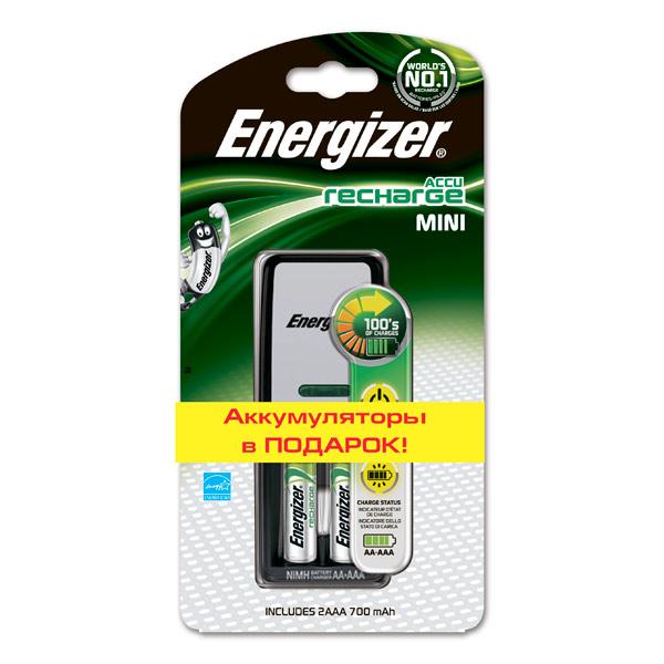 Зарядное устройство + аккумуляторы Energizer Mini Charger 2AAA 700mAH набор аккумуляторов duracell recharge aaa nimh 750 mah 2 шт