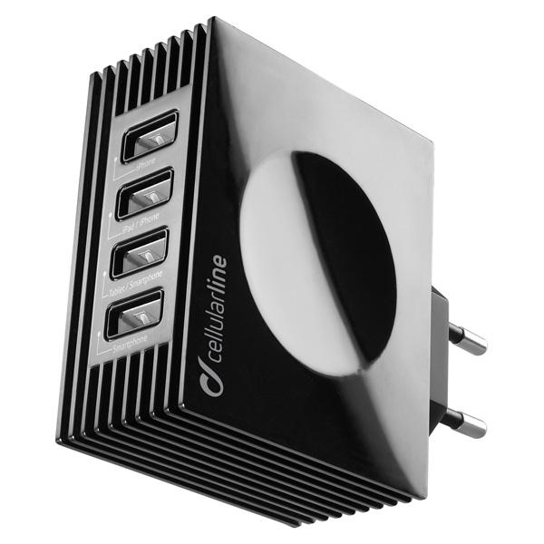 Сетевое зарядное устройство Cellular Line 4 USB 4.2A (ACHUSBQUAD4AK) черного цвета