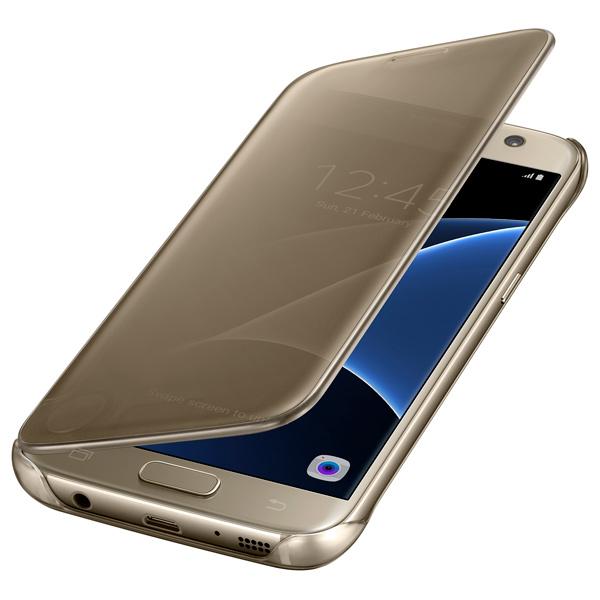 Чехол для сотового телефона Samsung Clear View Cover S7 Gold (EF-ZG930CFEGRU) чехол для смартфона samsung для galaxy s7 edge clear view cover серебристый ef zg935csegru ef zg935csegru
