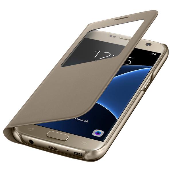 все цены на Чехол для сотового телефона Samsung S View Cover S7 Gold (EF-CG930PFEGRU) онлайн