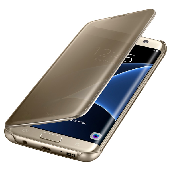 Чехол для сотового телефона Samsung Clear View Cover S7 Edge Gold (EF-ZG935CFEGRU) чехол книжка samsung clear view cover ef zg928c для galaxy s6 edge черно синий