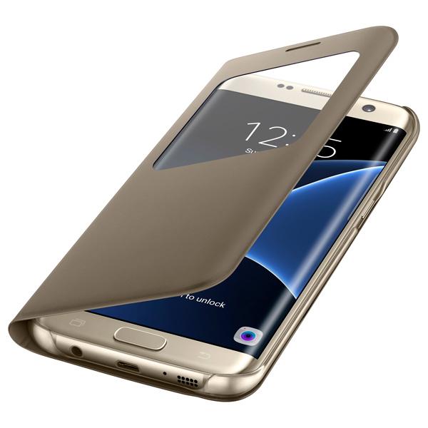 Чехол для сотового телефона Samsung S View Cover S7 Edge Gold (EF-CG935PFEGRU) чехол для смартфона samsung для galaxy s7 edge clear view cover серебристый ef zg935csegru ef zg935csegru
