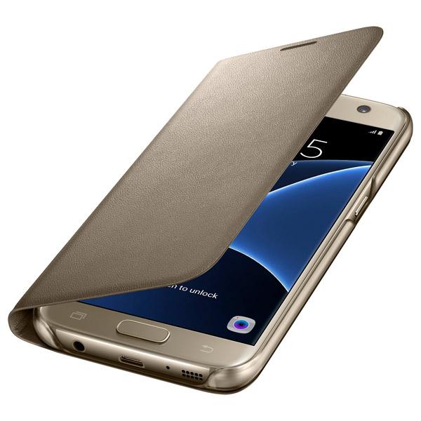 где купить Чехол для сотового телефона Samsung LED View Cover S7 Gold (EF-NG930PFEGRU) дешево