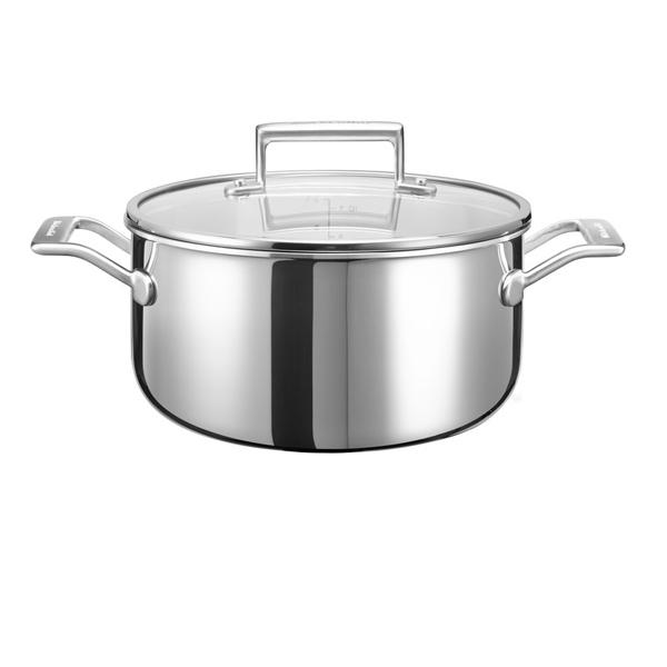 Кастрюля (сверхпрочное покрытие) KitchenAid KC2T60LCST 5,5л kitchenaid набор прямоугольных чаш для запекания 0 45 л 2 шт красные