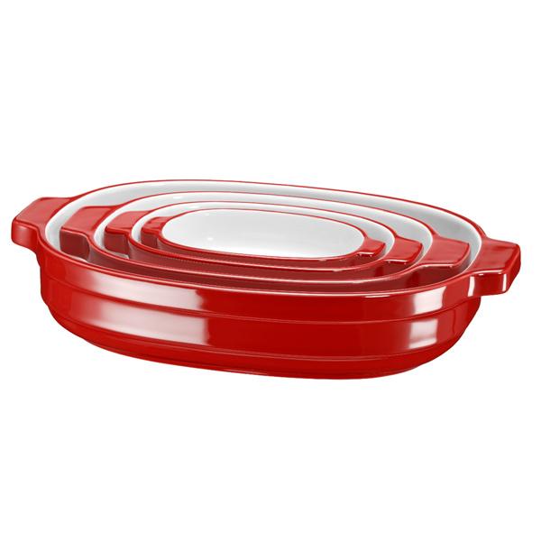 Форма для выпекания (керамика) KitchenAid набор KBLR04NSER 4шт. kitchenaid kblr04nsac набор из 4 керамических кастрюль для запекания cream
