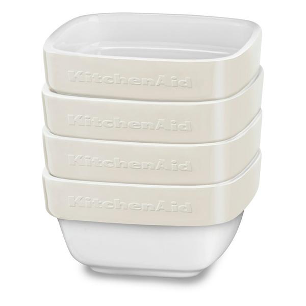 Форма для выпекания (керамика) KitchenAid набор KBLR04RMAC 4шт. по 0,22л kitchenaid kblr04nsac набор из 4 керамических кастрюль для запекания cream