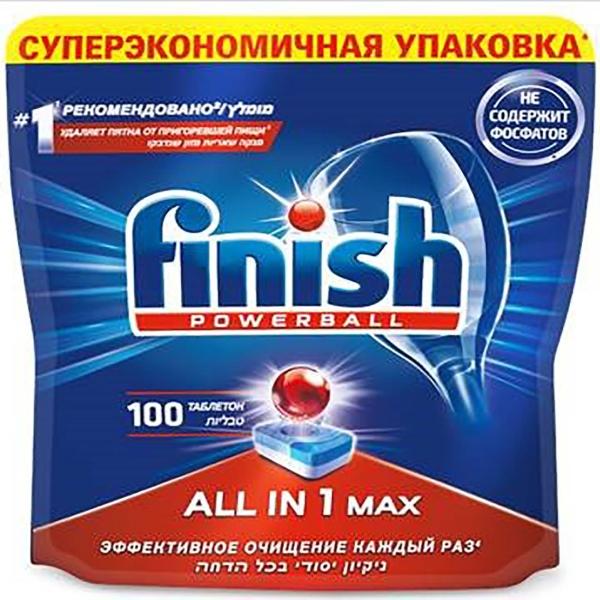 Моющее средство для посудомоечной машины Finish All in 1 Max Super Charged 100табл. таблетки для посудомоечной машины finish all in 1 max 13 шт