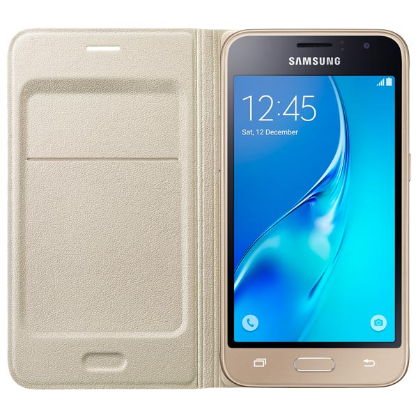 Чехол Samsung Flip Wallet J1 Gold (EF-WJ120PFEGRU) аксессуар чехол asus zenfone 3 ultra zu680kl nillkin frosted shield gold 12362