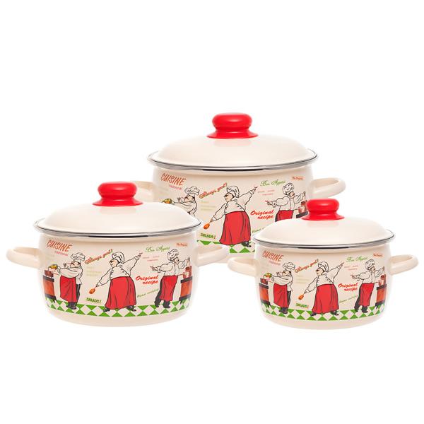 Набор посуды (эмаль) Vitross 1DA021M/C 3шт.: 2/3/4л