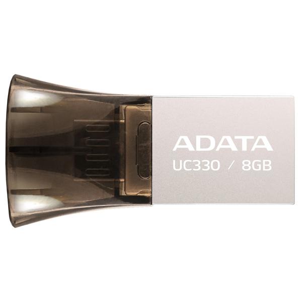Флеш-диск OTG ADATA DashDrive UC330 Silver/Black 8GB (AUC330-8G-RBK) флеш диск adata dashdrive ud310 red 32gb aud310 32g rrd