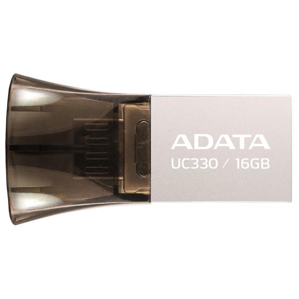 ADATA, Флеш-диск otg, DashDrive UC330 Silver/Black 16GB(AUC330-16G-RBK)