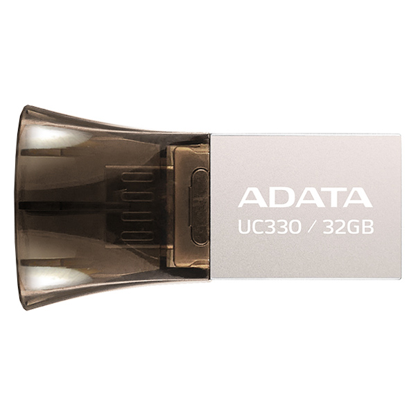 Флеш-диск OTG ADATA DashDrive UC330 Silver/Black 32GB(AUC330-32G-RBK) adata auc350 32gb golden usb флеш накопитель