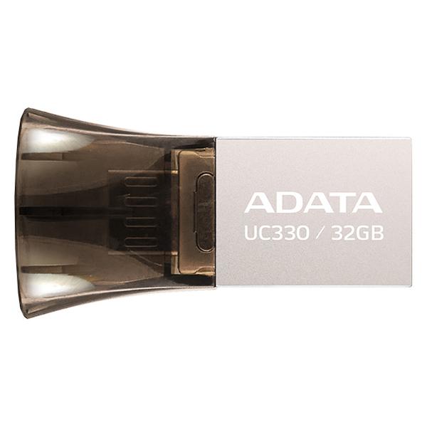 Флеш-диск OTG ADATA DashDrive UC330 Silver/Black 32GB(AUC330-32G-RBK) adata dashdrive uv150 usb 3 0 flash drive red 32gb