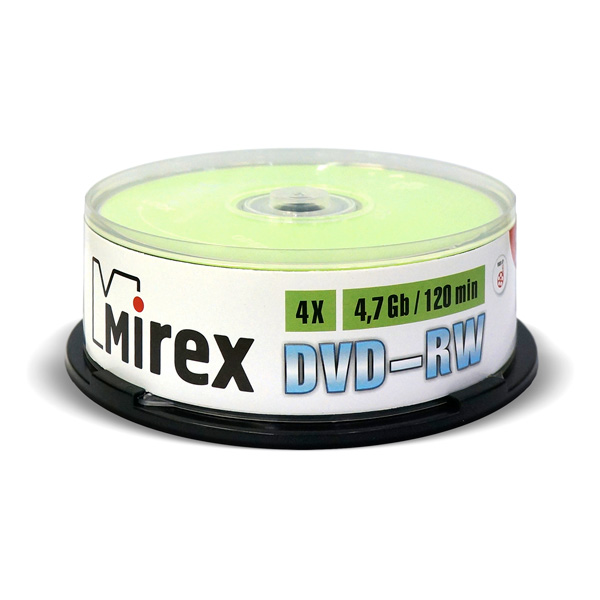 DVD-RW диск Mirex 4.7Gb 4x Cake Box 25 шт. (202530)