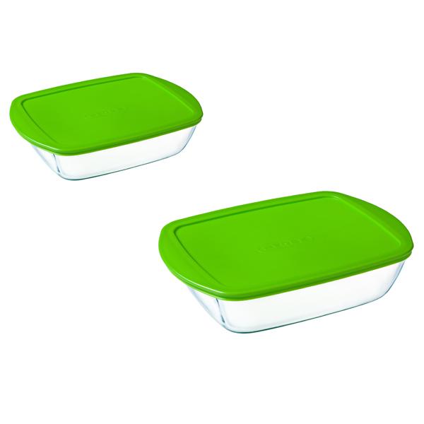 Форма для выпекания (стекло) Pyrex Набор прямоугольных форм с крышками Cook&Store 1.