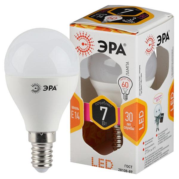 Лампа LED ЭРА LED smd P45-7w-827-E14