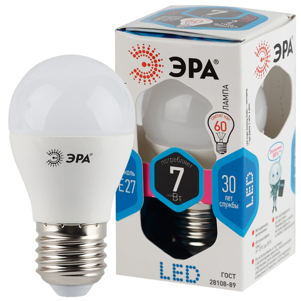Лампа LED ЭРА P45-7w-840-E27