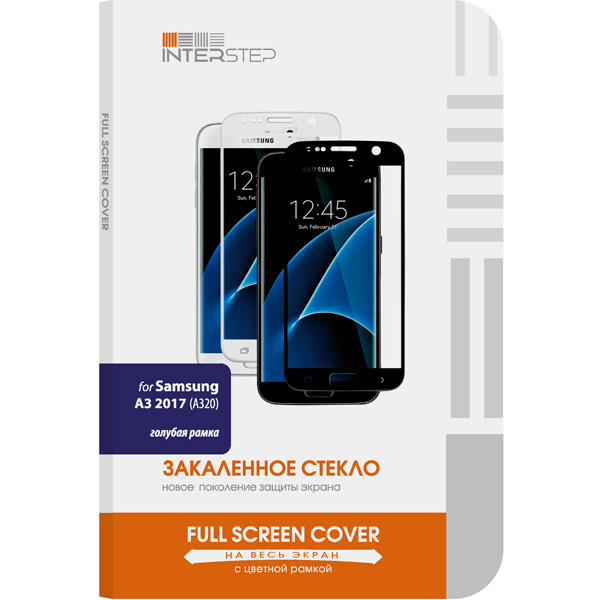 Защитное стекло InterStep Full Screen Cover 0,3мм Sams. A3 2017 A320 Blue аксессуар защитное стекло samsung galaxy a3 2017 solomon full cover black