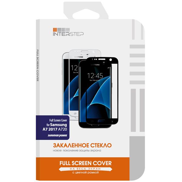 Защитное стекло InterStep Full Screen Cover 0,3мм Sams. A7 7 A720 Gold аксессуар защитное стекло samsung galaxy a3 2017 interstep 3d full screen is tg sama373dg gold 000b202