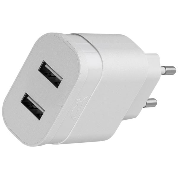 Сетевое зарядное устройство с кабелем RIVACASE 2 USB 3.4A + кабель microUSB (VA 4123 WD1) фото