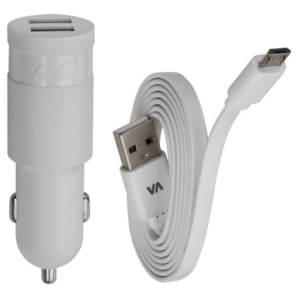 Автомобильное зарядное устройство RIVACASE 2 USB 3.4A + кабель microUSB (VA 4223 WD1) кабель partner usb 2 0 microusb 2 1а 0 2м