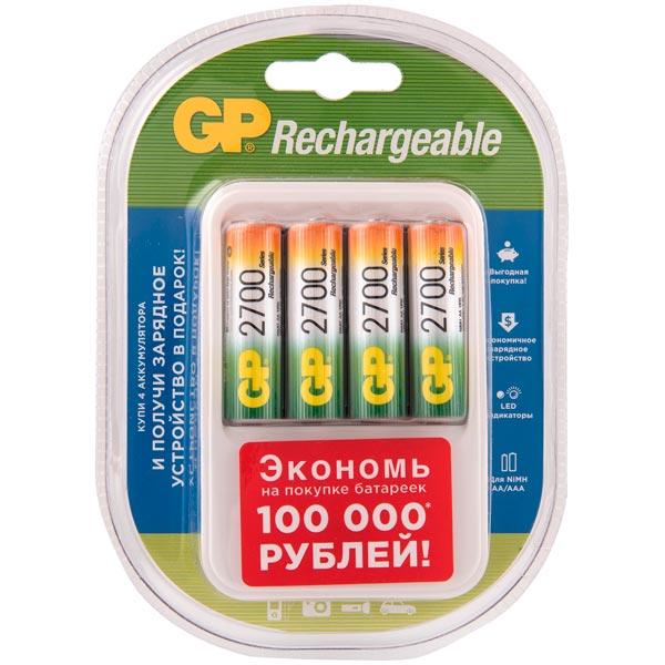 Зарядное устройство + аккумуляторы GP PB420 и 4 аккум. АА (LR6) (PB420GS270AAHCF-2CR4)