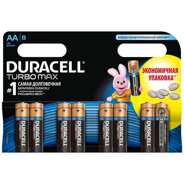 Duracell, Батарея, Turbo Max AA LR6 8 шт.
