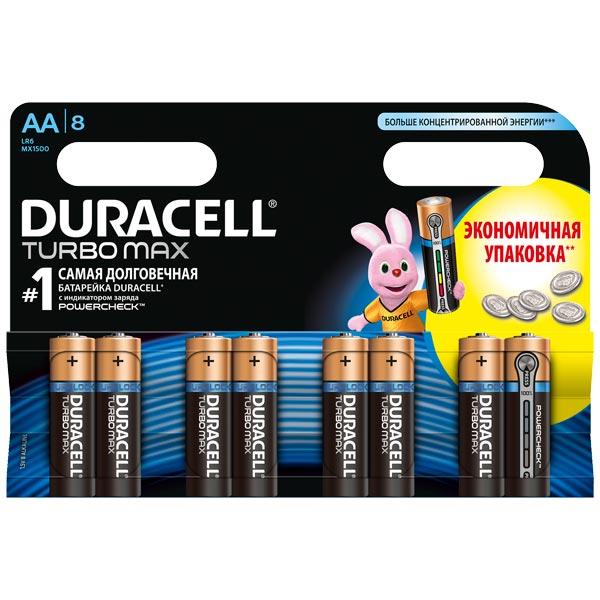 Батарея Duracell Turbo Max AA LR6 8 шт. батарея duracell professional lr6 2bl aa блистер 2 шт