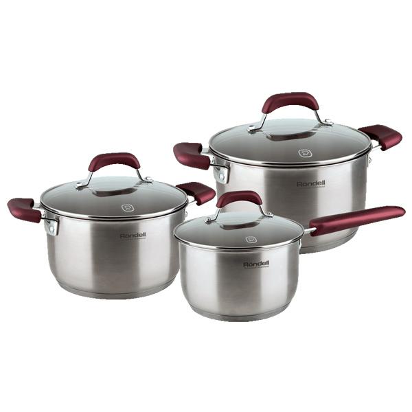 Набор посуды (нержавейка) Rondell Bojole RDS-823 3шт.: 1,7/3,3/5,6л