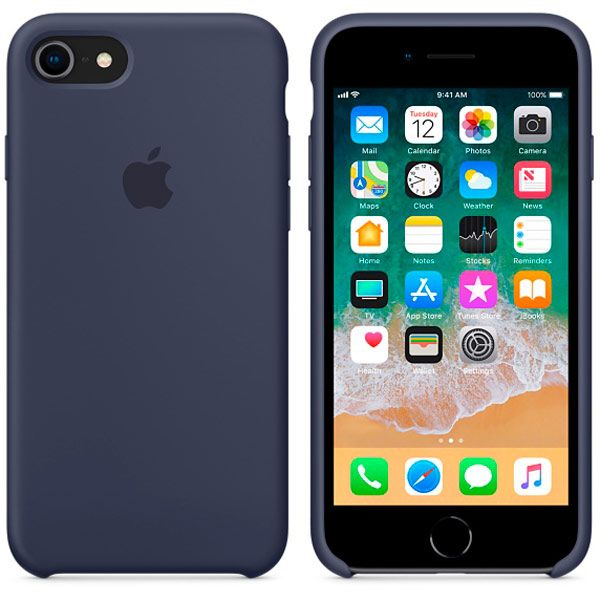 Чехол для iPhone Apple iPhone 8 / 7 Silicone Midnight Blue (MQGM2ZM/A) чехол накладка apple silicone case black для iphone 7 mmw82zm a силикон черный