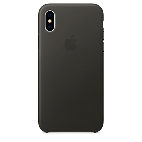 купить Чехол для iPhone Apple iPhone X Leather Case Charcoal Gray (MQTF2ZM/A) недорого