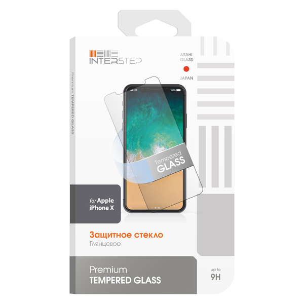 Защитное стекло для iPhone InterStep для iPhone X (IS-TG-IPHONXUNI-000B201) чехол для iphone interstep для iphone x soft t metal adv красный