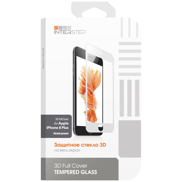 Защитное стекло для iPhone InterStep для iPhone 8 Plus (IS-TG-IPH8P3DWH-000B201) защитное стекло interstep для nokia 5 black is tg nokia5fsb 000b201