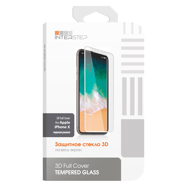 Защитное стекло для iPhone InterStep для iPhone X (IS-TG-IPHONX3DB-000B201) чехол для iphone interstep для iphone x soft t metal adv красный