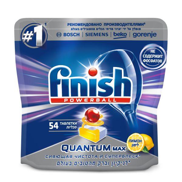 Моющее средство для посудомоечной машины Finish Quantum Max Lemon Powerball 54 таблетки цена