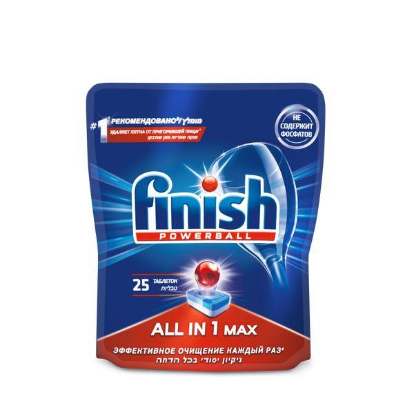 Моющее средство для посудомоечной машины Finish All in1 Max Powerball Super Charged 25 таблеток моющее средство для посудомоечной машины finish all in 1 max power pure 25табл