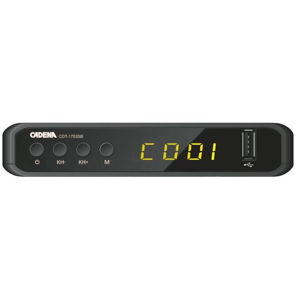 Приемник телевизионный DVB-T2 Cadena CDT-1753SB тюнер цифровой dvb t2 cadena 1104t2n