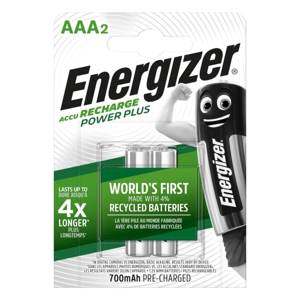 Аккумулятор Energizer Power Plus AAA 700mAh 2шт. (E300626500) серебристый
