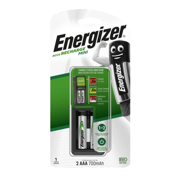 Зарядное устройство + аккумуляторы Energizer MINI Charger + 2шт. AAA 700mAh (E300701400) черный набор аккумуляторов duracell recharge aaa nimh 750 mah 2 шт