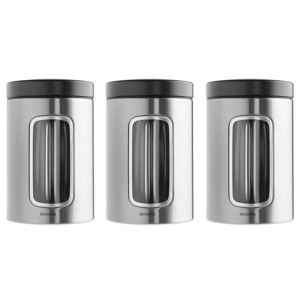 Контейнер для продуктов Brabantia 335341 Набор контейнеров с окном 3пр. 1,4л brabantia мусорный бак flipbin 30 л белый