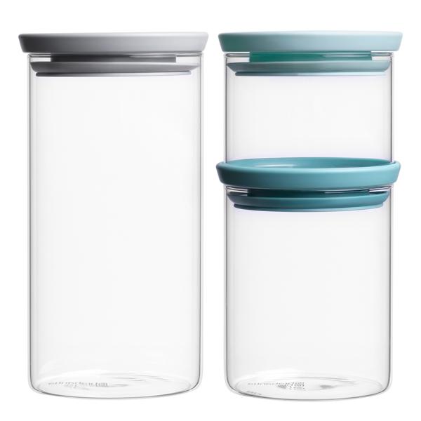 Контейнер для продуктов Brabantia 298325 Набор модульных стеклянных банок 3штуки brabantia мусорный бак flipbin 30 л белый